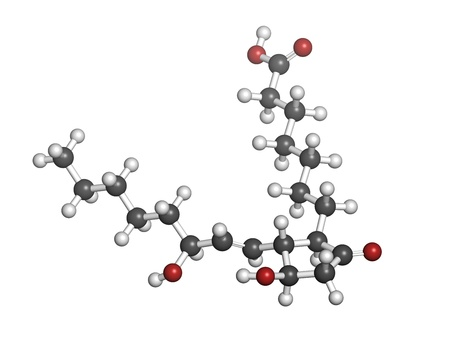 erectile: Alprostadil (prostaglandin E1) erectile dysfunction drug, chemical structure. Atoms are represented as spheres with conventional color coding: hydrogen (white), carbon (grey), oxygen (red)