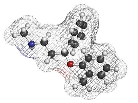 Atomoxetine attention-deficit hyperactivity disorder (ADHD) drug, chemical structure. Atoms are represented as spheres with conventional color coding: hydrogen (white), carbon (grey), nitrogen (blue), oxygen (red) photo