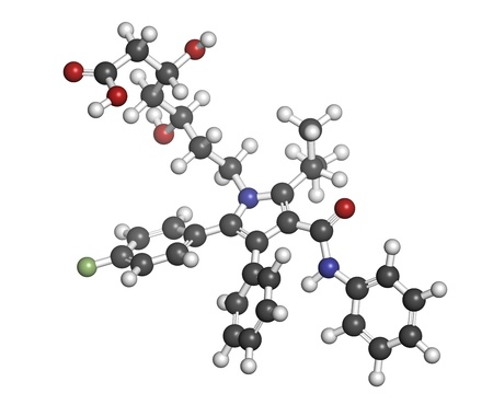 lowering: Atorvastatin cholesterol lowering drug (statin class), chemical structure. Atoms are represented as spheres with conventional color coding: hydrogen (white), carbon (grey), oxygen (red), nitrogen (blue), fluorine (green)