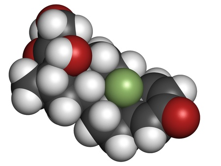 immunosuppressive: Betamethasone anti-inflammatory and immunosuppressive steroid drug, chemical structure. Atoms are represented as spheres with conventional color coding: hydrogen (white), carbon (grey), oxygen (red), fluorine (green)