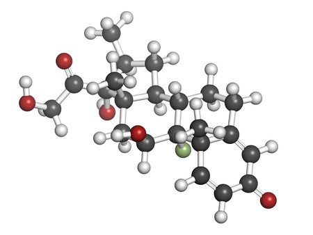 Betamethasone anti-inflammatory and immunosuppressive steroid drug, chemical structure. Atoms are represented as spheres with conventional color coding: hydrogen (white), carbon (grey), oxygen (red), fluorine (green) photo