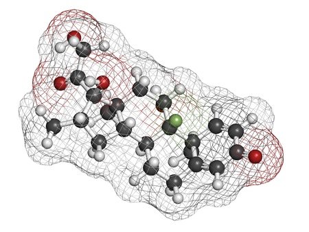 Betamethasone anti-inflammatory and immunosuppressive steroid drug, chemical structure. Atoms are represented as spheres with conventional color coding: hydrogen (white), carbon (grey), oxygen (red), fluorine (green)