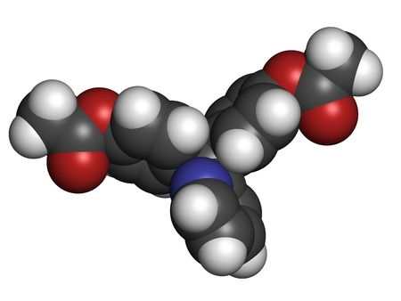 purgative: Bisacodyl laxative drug, chemical structure. Atoms are represented as spheres with conventional color coding: hydrogen (white), carbon (grey), oxygen (red), nitrogen (blue)