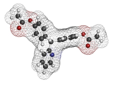 Bisacodyl laxative drug, chemical structure. Atoms are represented as spheres with conventional color coding: hydrogen (white), carbon (grey), oxygen (red), nitrogen (blue) Stock Photo - 21198573