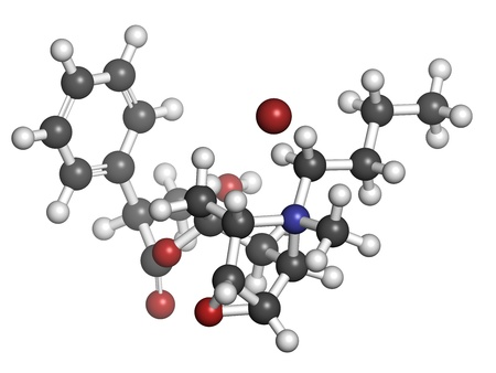 antispasmodic: Butylscopolamine (butylhyoscine) bromide abdominal and menstrual cramps drug, chemical structure. Atoms are represented as spheres with conventional color coding: hydrogen (white), carbon (grey), oxygen (red), nitrogen (blue), bromine (brown)