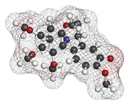gout: Colchicine gout drug, chemical structure. Atoms are represented as spheres with conventional color coding: hydrogen (white), carbon (grey), oxygen (red), nitrogen (blue)