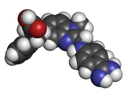 anticoagulant: Dabigatr�n anticoagulante f�rmaco (inhibidor directo de la trombina), la estructura qu�mica. Los �tomos se representan como esferas con c�digo de colores convencionales: hidr�geno (blanco), el nitr�geno de carbono (gris), ox�geno (roja), (azul)