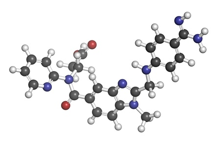 coagulation: Dabigatran anticoagulant drug (direct thrombin inhibitor), chemical structure. Atoms are represented as spheres with conventional color coding: hydrogen (white), carbon (grey), oxygen (red), nitrogen (blue)