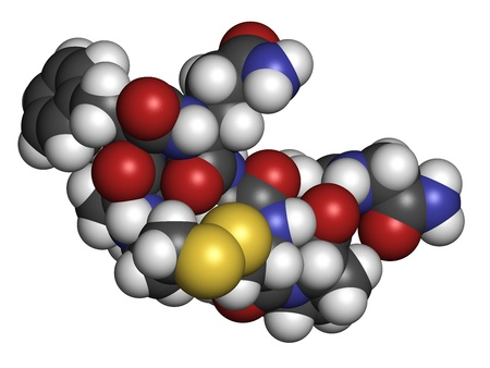 hemophilia: Desmopressin peptide, synthetic replacement of vasopressin hormone, chemical structure. Used in treatment of bedwetting. Atoms are represented as spheres with conventional color coding: hydrogen (white), carbon (grey), oxygen (red), nitrogen (blue), sulfu