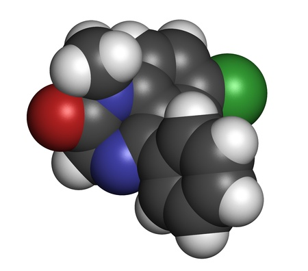 Diazepam sedative and hypnotic drug (benzodiazepine class), chemical structure. Atoms are represented as spheres with conventional color coding: hydrogen (white), carbon (grey), nitrogen (blue), chlorine (green) photo