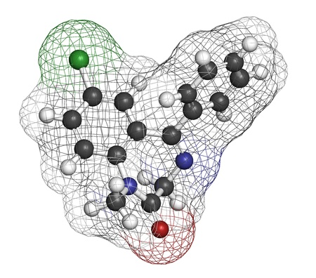relaxant: Diazepam sedative and hypnotic drug (benzodiazepine class), chemical structure. Atoms are represented as spheres with conventional color coding: hydrogen (white), carbon (grey), nitrogen (blue), chlorine (green)