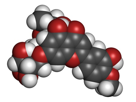 hemorrhoids: Diosmin venous disease and hemorrhoids drug, chemical structure. Atoms are represented as spheres with conventional color coding: hydrogen (white), carbon (grey), oxygen (red)