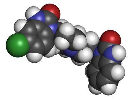 lactation: Domperidone nausea and vomiting suppressing drug, chemical structure. Also used to promote lactation. Atoms are represented as spheres with conventional color coding: hydrogen (white), carbon (grey), oxygen (red), nitrogen (blue), chlorine (green)