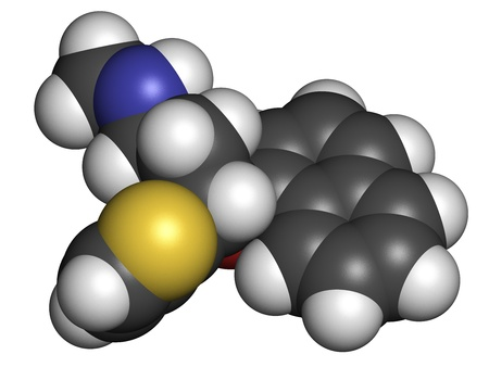 Duloxetine antidepressant drug (SNRI class), chemical structure. Also used in fibromyalgia treatment, etc. Atoms are represented as spheres with conventional color coding: hydrogen (white), carbon (grey), nitrogen (blue), sulfur (yellow), oxygen (red) Stock Photo - 21198665