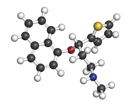 Duloxetine antidepressant drug (SNRI class), chemical structure. Also used in fibromyalgia treatment, etc. Atoms are represented as spheres with conventional color coding: hydrogen (white), carbon (grey), nitrogen (blue), sulfur (yellow), oxygen (red) Stock Photo - 21198666