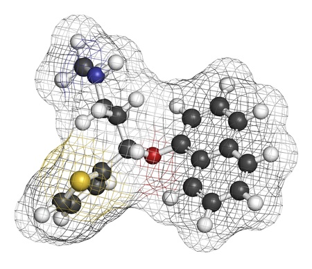 norepinephrine: Duloxetine antidepressant drug (SNRI class), chemical structure. Also used in fibromyalgia treatment, etc. Atoms are represented as spheres with conventional color coding: hydrogen (white), carbon (grey), nitrogen (blue), sulfur (yellow), oxygen (red)