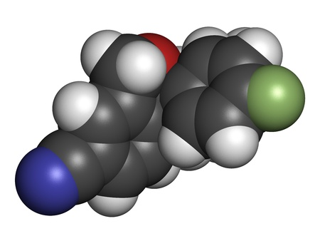 premenstrual: Escitalopram antidepressant drug (SSRI class), chemical structure. Atoms are represented as spheres with conventional color coding: hydrogen (white), carbon (grey), nitrogen (blue), oxygen (red), fluorine (green)