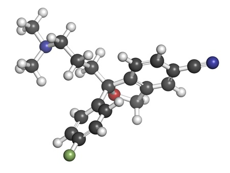 antidepressant: Escitalopram antidepressant drug (SSRI class), chemical structure. Atoms are represented as spheres with conventional color coding: hydrogen (white), carbon (grey), nitrogen (blue), oxygen (red), fluorine (green)