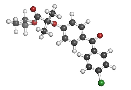 lowering: Fenofibrate cholesterol lowering drug (fibrate class), chemical structure. Atoms are represented as spheres with conventional color coding: hydrogen (white), carbon (grey), oxygen (red), chlorine (green)