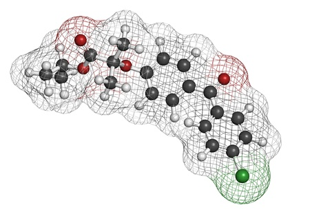 Fenofibrate cholesterol lowering drug (fibrate class), chemical structure. Atoms are represented as spheres with conventional color coding: hydrogen (white), carbon (grey), oxygen (red), chlorine (green) photo