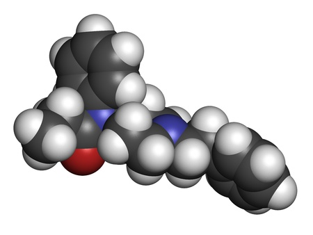 analgesia: Fentanyl (fentanil) opioid analgesic drug, chemical structure. Atoms are represented as spheres with conventional color coding: hydrogen (white), carbon (grey), oxygen (red), nitrogen (blue) Stock Photo