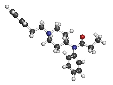opioid: Fentanyl (fentanil) opioid analgesic drug, chemical structure. Atoms are represented as spheres with conventional color coding: hydrogen (white), carbon (grey), oxygen (red), nitrogen (blue) Stock Photo