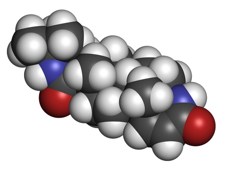 enlarged: finasteride maschile droga calvizie, struttura chimica. Utilizzato anche in iperplasia prostatica benigna (IPB, ingrossamento della prostata) trattamento. Gli atomi sono rappresentati come sfere con codifica a colori convenzionali: idrogeno (bianco), il carbonio (grigio), ossigeno (rosso), nitro