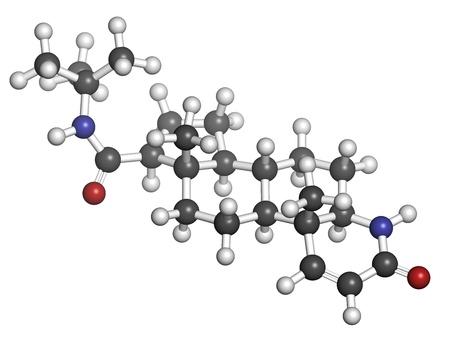 calvitie: finast�ride m�dicament calvitie masculine, la structure chimique. �galement utilis� en hyperplasie b�nigne de la prostate (HBP, hypertrophie de la prostate) traitement. Atomes sont repr�sent�s comme des sph�res avec codage classique de couleur: l'hydrog�ne (blanc), le carbone (gris), l'oxyg�ne (rouge), nitro