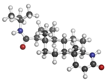 prostatic: finasteride male pattern baldness drug, chemical structure. Also used in benign prostatic hyperplasia (BPH, enlarged prostate) treatment. Atoms are represented as spheres with conventional color coding: hydrogen (white), carbon (grey), oxygen (red), nitro