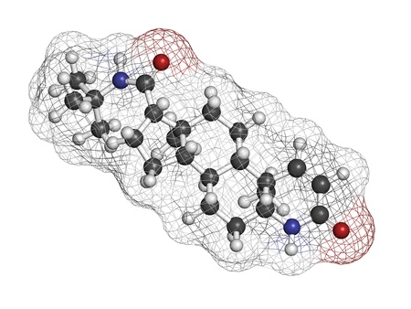 benign: finasteride male pattern baldness drug, chemical structure. Also used in benign prostatic hyperplasia (BPH, enlarged prostate) treatment. Atoms are represented as spheres with conventional color coding: hydrogen (white), carbon (grey), oxygen (red), nitro