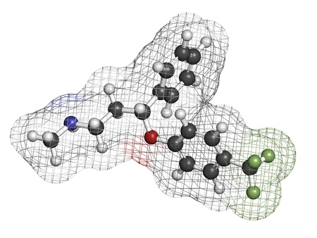 premenstrual: Fluoxetine antidepressant drug (SSRI class), chemical structure. Atoms are represented as spheres with conventional color coding: hydrogen (white), carbon (grey), nitrogen (blue), oxygen (red), fluorine (green) Stock Photo