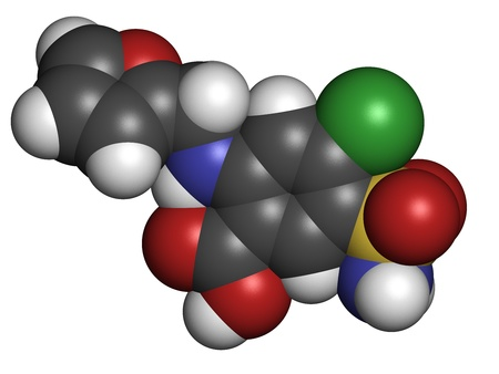 diuretic: Furosemide diuretic drug, chemical structure. Medically used to treat hypertension. Also used as masking agent in sports doping. Atoms are represented as spheres with conventional color coding: hydrogen (white), carbon (grey), nitrogen (blue), oxygen (red