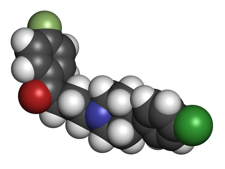 inverse: Haloperidol antipsychotic (neuroleptic) drug, chemical structure. Atoms are represented as spheres with conventional color coding: hydrogen (white), carbon (grey), nitrogen (blue), oxygen (red), chlorine (green), fluorine (light green)