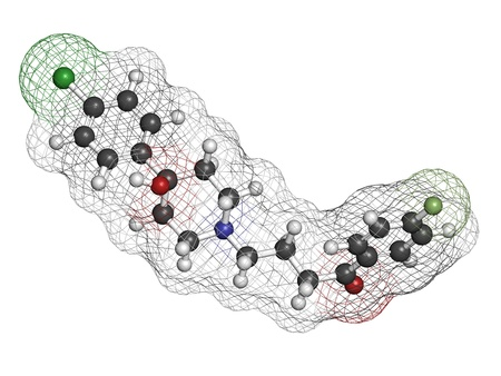 agonist: Haloperidol antipsychotic (neuroleptic) drug, chemical structure. Atoms are represented as spheres with conventional color coding: hydrogen (white), carbon (grey), nitrogen (blue), oxygen (red), chlorine (green), fluorine (light green)