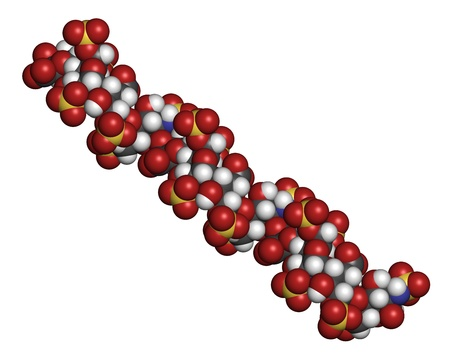 anticoagulant: Medicamento anticoagulante heparina, la estructura qu�mica. Los �tomos se representan como esferas con c�digo de colores convencionales: hidr�geno (blanco), el carb�n (gris), ox�geno (roja), nitr�geno (azul), azufre (amarillo)