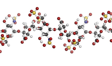 anticoagulant: Heparin anticoagulant drug, chemical structure. Atoms are represented as spheres with conventional color coding: hydrogen (white), carbon (grey), oxygen (red), nitrogen (blue), sulfur (yellow)