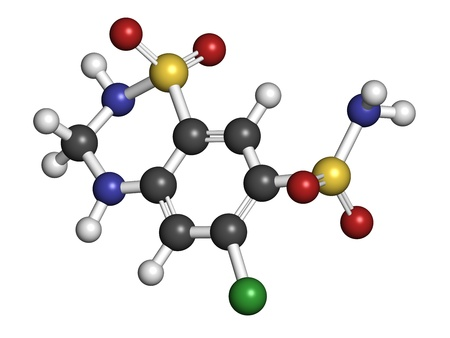 diuretic: Hydrochlorothiazide diuretic drug, chemical structure. Atoms are represented as spheres with conventional color coding: hydrogen (white), carbon (grey), nitrogen (blue), oxygen (red), chlorine (green), sulfur (yellow)