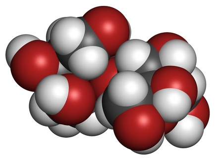 Lactulose chronic constipation drug (laxative), chemical structure. Atoms are represented as spheres with conventional color coding: hydrogen (white), carbon (grey), oxygen (red) Stock Photo - 21198679