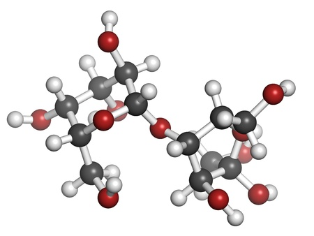 Lactulose chronic constipation drug (laxative), chemical structure. Atoms are represented as spheres with conventional color coding: hydrogen (white), carbon (grey), oxygen (red) Stock Photo - 21198678