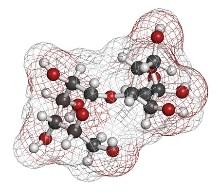 prebiotic: Lactulose chronic constipation drug (laxative), chemical structure. Atoms are represented as spheres with conventional color coding: hydrogen (white), carbon (grey), oxygen (red) Stock Photo