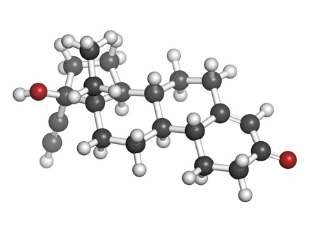 hydrogen: Levonorgestrel contraceptive pill drug, chemical structure. Atoms are represented as spheres with conventional color coding: hydrogen (white), carbon (grey), oxygen (red)