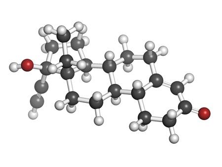 Levonorgestrel Pille Drogen, chemische Struktur. Atome sind als Kugeln mit herkömmlichen Farbcodierung repräsentiert: Wasserstoff (weiß), Kohlenstoff (grau), Sauerstoff (rot) Standard-Bild - 21198723