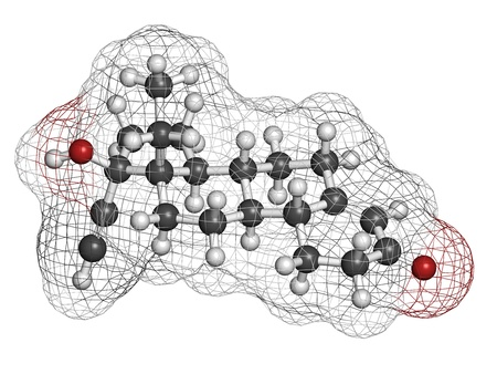 Levonorgestrel contraceptive pill drug, chemical structure. Atoms are represented as spheres with conventional color coding: hydrogen (white), carbon (grey), oxygen (red) photo