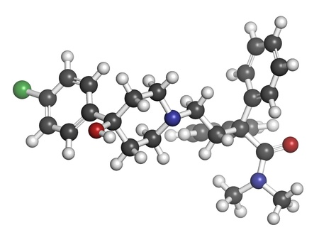 Loperamide diarrhea drug, chemical structure. Atoms are represented as spheres with conventional color coding: hydrogen (white), carbon (grey), oxygen (red), nitrogen (blue), chlorine (green) Stock Photo - 21198731