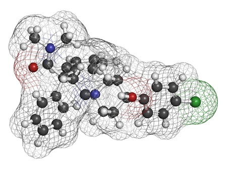 Loperamide diarrhea drug, chemical structure. Atoms are represented as spheres with conventional color coding: hydrogen (white), carbon (grey), oxygen (red), nitrogen (blue), chlorine (green) Stock Photo - 21198732