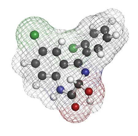 Lorazepam sedative and hypnotic drug (benzodiazepine class), chemical structure. Atoms are represented as spheres with conventional color coding: hydrogen (white), carbon (grey), nitrogen (blue), chlorine (green) photo