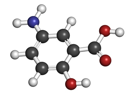 hydrogen: Mesalazine (mesalamine, 5-aminosalicylic acid, 5-ASA) inflammatory bowel disease drug, chemical structure. Used to treat ulcerative colitis and Crohns disease. Atoms are represented as spheres with conventional color coding: hydrogen (white), carbon (gre Stock Photo