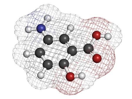 bowel disease: La mesalazina (mesalamina, �cido 5-aminosalic�lico, 5-ASA) enfermedad intestinal inflamatoria drogas, la estructura qu�mica. Se utiliza para tratar la colitis ulcerosa y la enfermedad de Crohn. Los �tomos se representan como esferas con codificaci�n de color convencionales: hidr�geno (blanco), de carbono (GRE