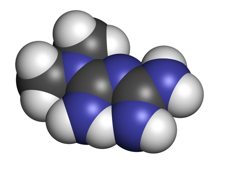 metformin: Metformin diabetes drug (biguanide class), chemical structure. Atoms are represented as spheres with conventional color coding: hydrogen (white), carbon (grey), nitrogen (blue) Stock Photo