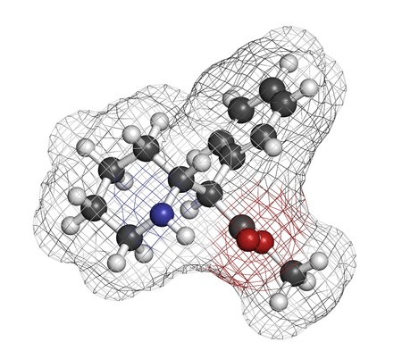 hyperactivity: Methylphenidate attention-deficit hyperactivity disorder (ADHD) drug, chemical structure. Atoms are represented as spheres with conventional color coding: hydrogen (white), carbon (grey), nitrogen (blue), oxygen (red)